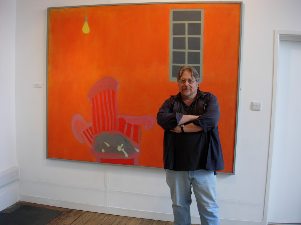 Ray Klimek with an Ernest Zobole painting, Zobole Gallery 2006