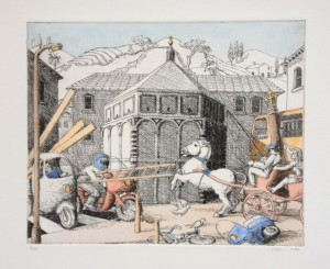 'Battle of Florence' etching and watercolour on paper (1990)