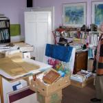 Joan Isaac in Bert Isaac's studio, Abergavenny, 30 July 2007