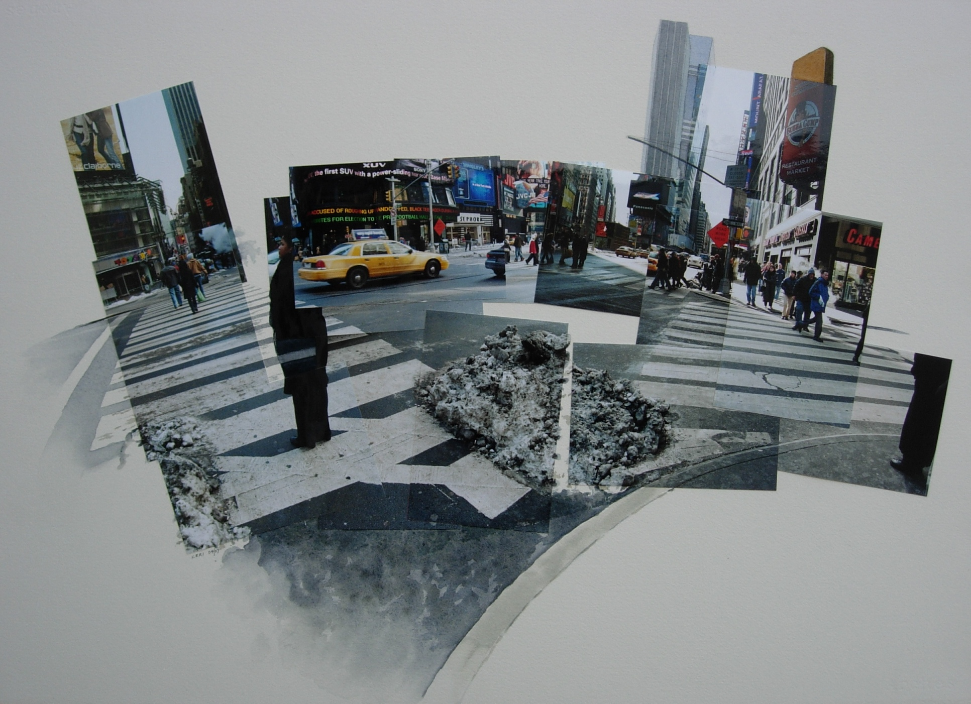 'New York Crossway: Times Square' watercolour and photocollage on paper (2003/07)