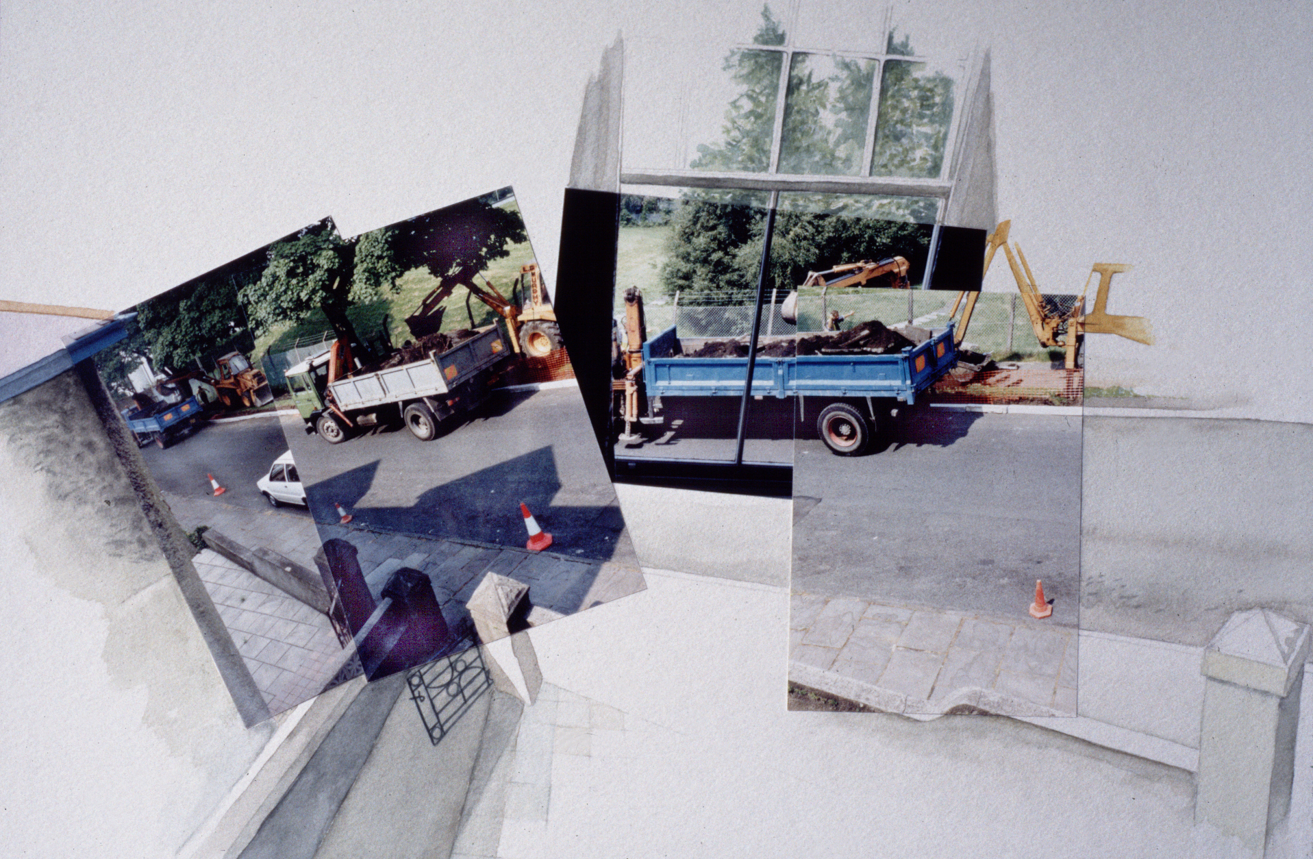 'Disturbing the Peace: 5 Cwmdonkin Drive' watercolour and photocollage on paper (1994/98)