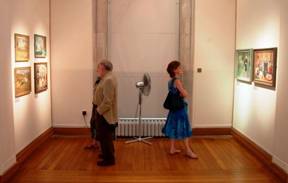 Viewers at the 'Joan Baker: a retrospective' exhibition, National Library of wales, Aberystwyth, 10 July 2010