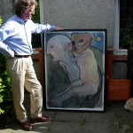 Keith Bayliss with one of his paintings, Swansea, 3 September 2007