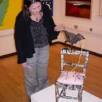 Lynne Bebb with one of her sculptures, 27 September 2007