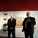 Ceri Thomas with Peter Stead at the opening of 'Placing Dylan', National Waterfront Museum Swansea, 2014