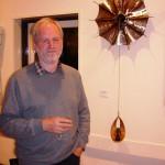 Robert Harding with one of his sculptures, Trehafod, 27 September 2007