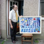 Roy Powell with one of his paintings, Brecon, 9 September 2007