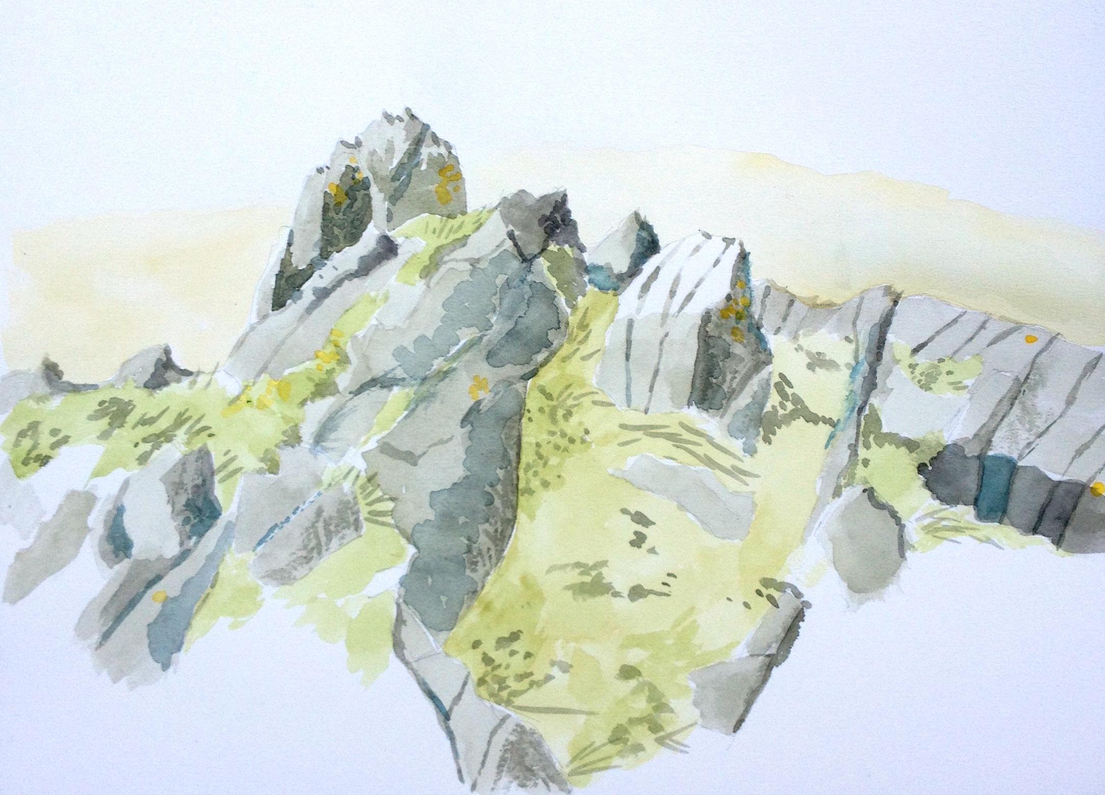 'Rocks above Carreg Cennen' watercolour on paper (April 2015)