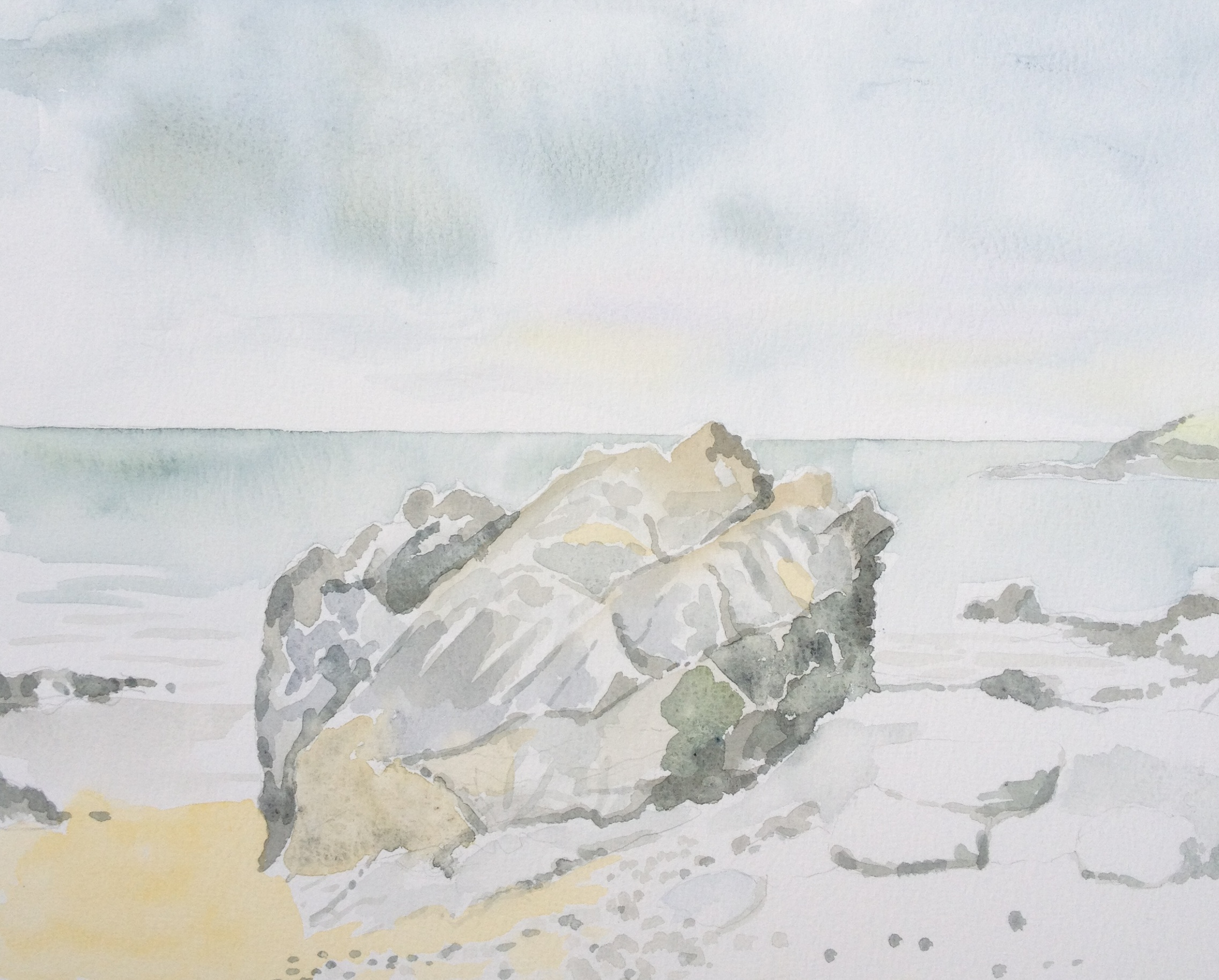 'Storr Rock, Rotherslade, Gower' watercolour on paper (2013)